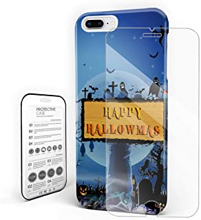 Compatible with iPhone X Case, Hard PC Back Phone Case with Tempered Glass Screen Protector Happy Hallowmas Gloomy Tomb Crow Shockproof Protective Cover