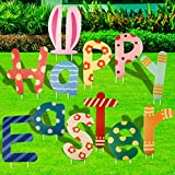 Fangoo 12 Pieces Easter Yard Signs Decorations Outdoor, Happy Easter Yard Sign with Stakes, Easter Yard Signs Easter Lawn Yard Decorations for Easter Hunt Game Easter Props Party Supplies Decor