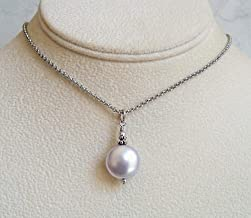 Pale Lavender Coin Pendant 18 Inch Necklace Made With Swarovski Simulated Pearl Gift Idea SS