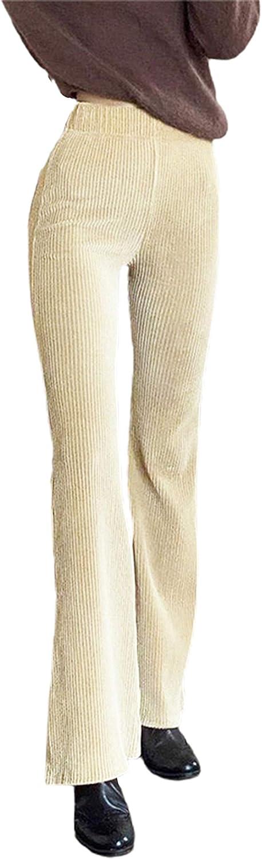 Women High Waist Corduroy Straight Leg Baggy Pants Vintage Y2K Streetwear Loose Patchwork Trousers Solid Casual Bottom