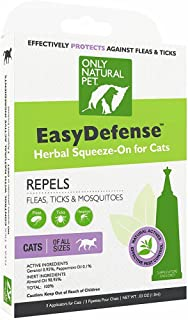 Only Natural Pet Flea and Tick Prevention for Cats - EasyDefense Flea Remedy - Natural Flea Treatment Control Squeeze-On Drops - Three Months Supply
