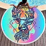 Toalla de playa redonda con diseño de ciervo para picnic, adultos, niños, spa, yoga, deporte, microfibra, toalla de mano, arena, esterilla de yoga con flecos, poliéster, blanco, 150 cm
