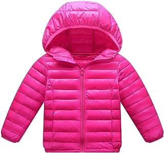 Giacche Piumino con Cappuccio Classico Ultra Leggero del Cappotto Parka Zipper Invernale per Unisex Bambine E Bambino