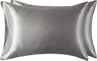 Bedsure Funda Almohada 50x75cm Satén Gris - Juego de 2 Fundas Almohadas 75x50 Pelo Rizado, Muy Liso Suave de 100% Microfibra, Antiarrugas sin Cremallera, 2 Piezas