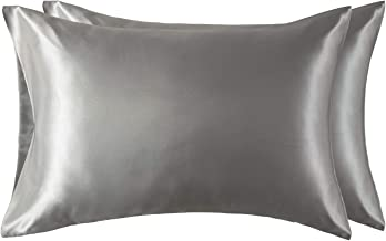 Bedsure Pillowcase Set Satin Pillowcases for Hair and Skin, Pack of 2 Pillow Cover Standard Size (50 x 75 cm), Grey