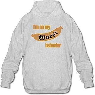Mens I'm On My Wurst Behavior Hoodie Workout Pullover Sweatshirt