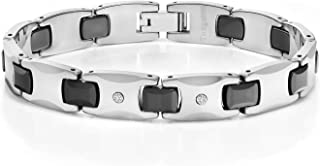 Men's Shiny Polished Diamond Tungsten Bracelet with Black Plated Connector Links