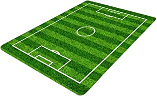 Soccer Field Ground Area Rug, Football Soccer Field Play Modern Carpet Floor Rugs Mat for Children Kids Home Living Dining Room Playroom Decoration size 50x80cm
