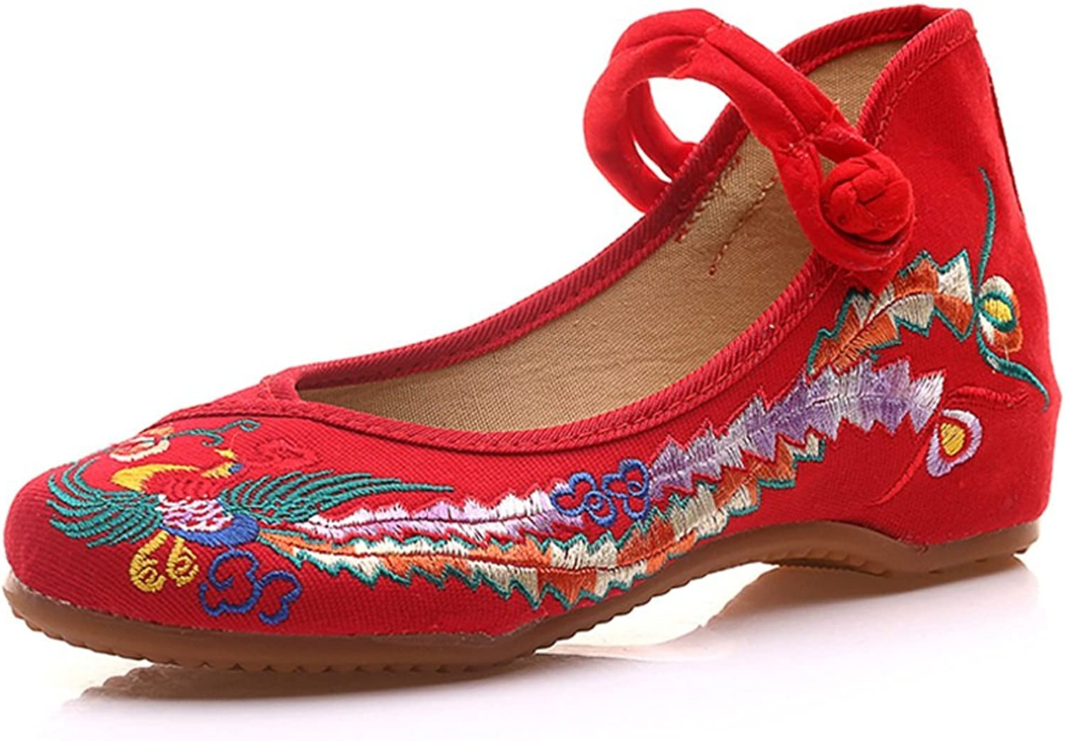 Red Phoenix Embroidered shoes Flat Ballet Cotton Loafer Women Casual Loafers ( color   Red , Size   35 )