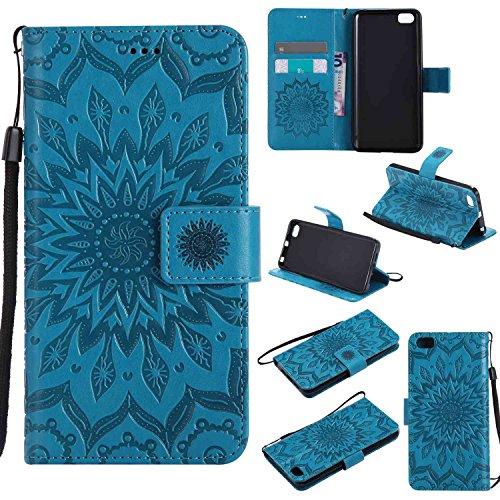 pinlu® PU Leder Tasche Etui Schutzhülle für Xiaomi Mi5 Lederhülle Schale Flip Cover Tasche mit Standfunktion Sonnenblume Muster Hülle (Blau)