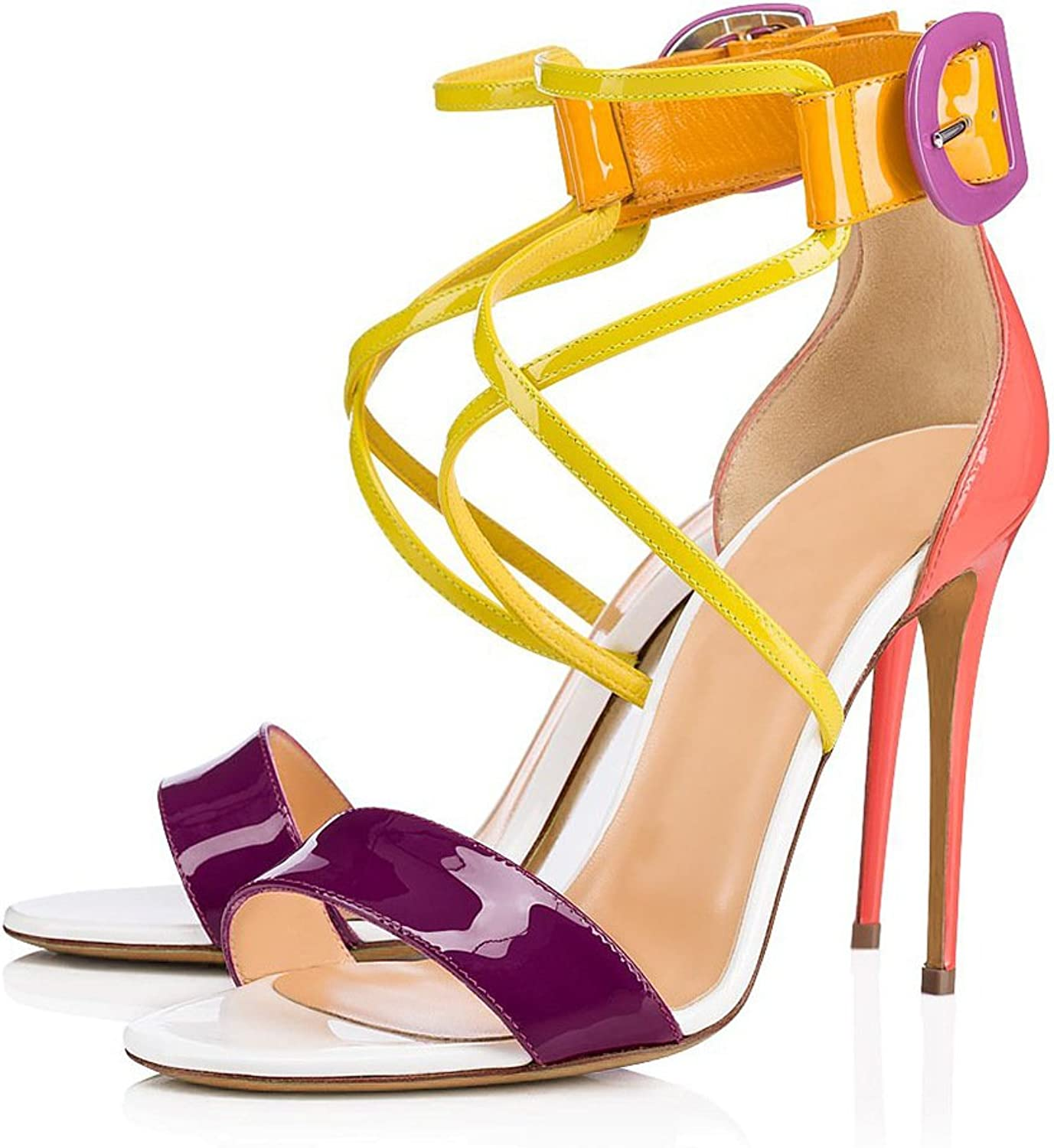 Women's shoes PU Summer Cross-Strap Shiny Sandals Stiletto Heel Pointed Toe Platform for Dress Party & Evening Candy color