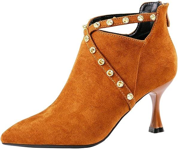 LBTSQ-Le Tempérament Hollow Zipper Rétro Chaussures Bottes De Nu Bottes 7Cm Rivets Conseils Bien Talons Hauts