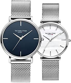 VICTORIA HYDE Couple Watches Set Analog Quartz Detachable Genuine Leather Strap Stainless Steel Mesh Band Wristwatch for Men and Women Gifts