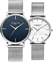 VICTORIA HYDE Couple Watches Analog Quartz Detachable Genuine Leather Strap Stainless Steel Mesh Band Wristwatch for Men and Women His & Hers Fine Wrist Watches Gifts Set for Lovers