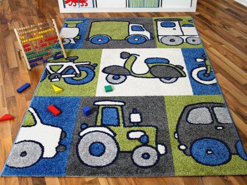 SoftStar Kinder und Spielteppich Motors Blau in 3 Größen