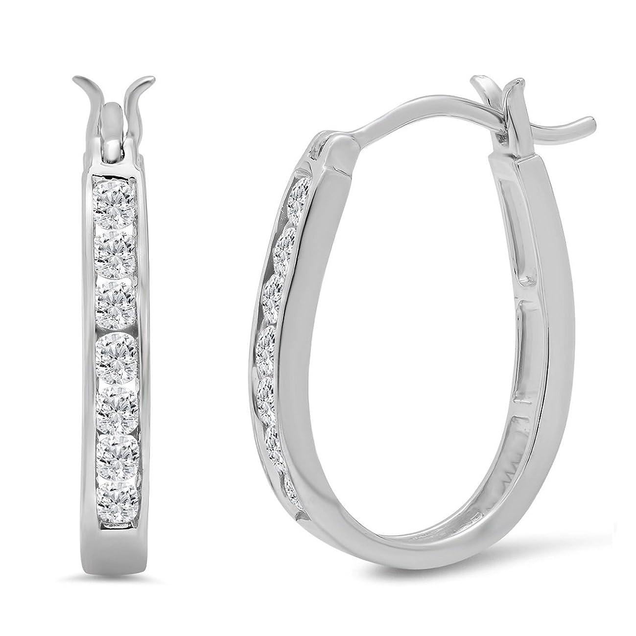 AGS Certified 1/2ct TW Diamond Hoop Earrings in 10K Gold