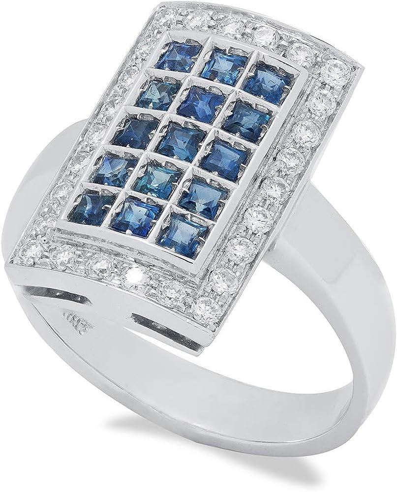 B.&c. gioielli anello donna in oro 18 kt, diamanti e zafiri an02