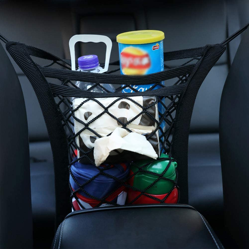 DKIIGAME Car Dog Barrier,Car Mesh Organizer Seat Back Net Bag for Pet Barrier,Purse Bag Phone Pets Children Kids Disturb Stopper