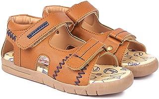 Hopscotch NFive Boys PU Double Strap Sandals in Tan Color