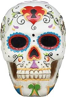 Ebros White Floral Sunny Day of the Dead Sugar Skull Statue Colorful Pastel Resin Figurine Skeleton Cranium Dia De Muertos Calacas As Gothic Display Model Sculpture