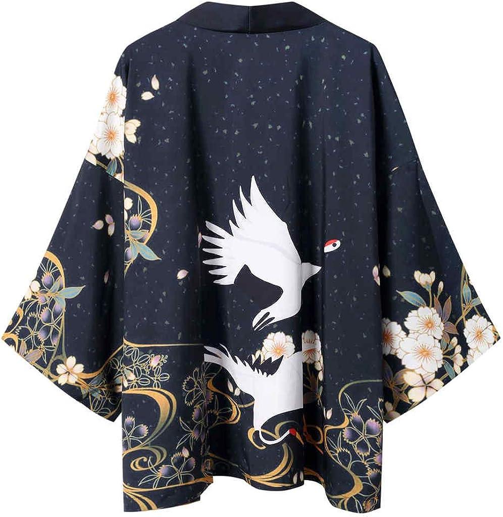 Mens Kimono Cardigan, F_Gotal Men's Japanese Kimono Shawl Collar Cardigan Long Kimono Jackets Open Front Drape Cape Coat