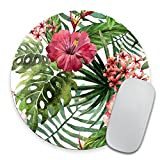 Mouse Pad Mousepad Tropical Leaves Print Mouse Mat Mouse Pad Office Mousemat Round Mousemat Hawaii Hawaiian Tropical Palm Print Mousepad