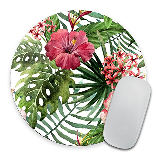 Mouse Pad Mousepad Tropical Leaves Print Mouse Mat Mouse Pad Office Mousemat Round Mousemat Hawaii Hawaiian Tropical Palm Print Mousepad