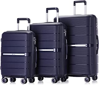 Luggage Sets 3 Piece Hardside and Lightweight Suitcase Spinner with Built-In TSA Lock Carry on 20 inch 24 inch 28 inch with Double Spinner Wheels (Navy Blue)