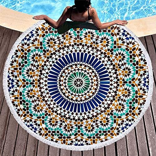 KLily Manta Redonda Impresa, Toalla De Baño Casera con Flecos, Toalla De Playa De Mar, Material Lavable