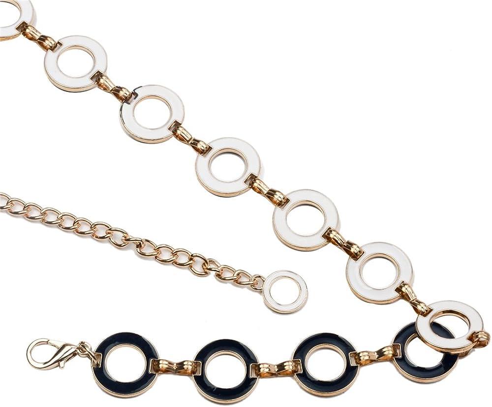 Audixius Exquisite Damen Taillenband Metall Blumenform Gürtel Sommer Kleider Gurte Runde Silber