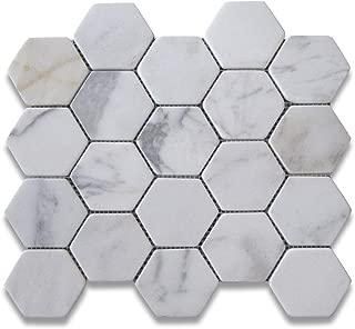 Calacatta Gold Italian Calcutta Marble Hexagon Mosaic Tile 3 inch Tumbled