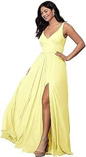 Rjer V Neck Split Bridesmaid Dresses Long Chiffon Pleated A line Sleeveless Dress for Women