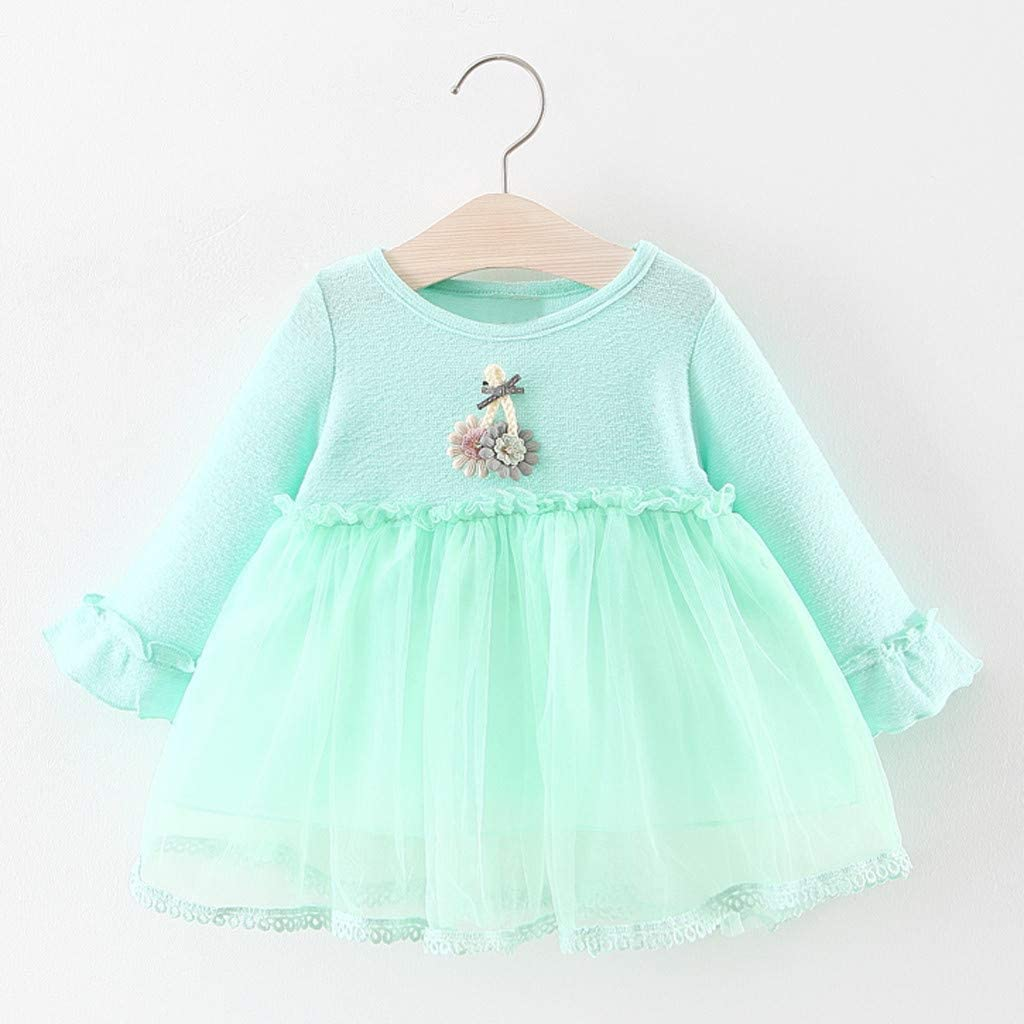 Long Sleeve Ruffles Floral Splice Dress for Toddler Kids Newborn Baby Girl Little Princess Dresses Outfits Skirt