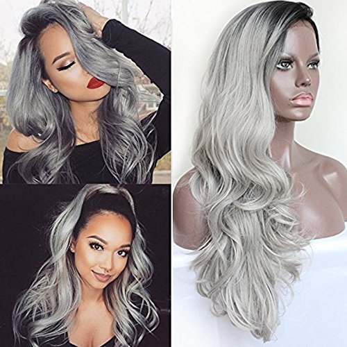 """PlatinumHair Synthetic Lace Front Wigs Black Roots and Gray Ombre Body Wave Heavy Density Glueless Synthetic Hair Wigs 20-26"""""""