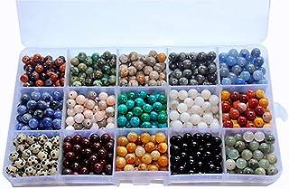 800pcs 6mm Natural Round Stone Beads Genuine Real Gemstone Beading Loose Gemstone Hole Size 1mm DIY Smooth Beads for Brace...