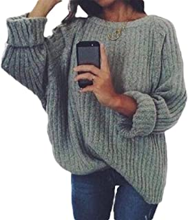 Women's Round Neck Warm Loose Chunky Knitted Long Sleeve Pullover Jumper Sweater