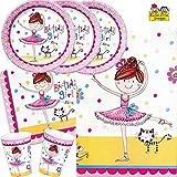 Rachel Ellen - Set de fiesta (37 piezas, platos, vasos, servilletas, mantel, para 8 niños)