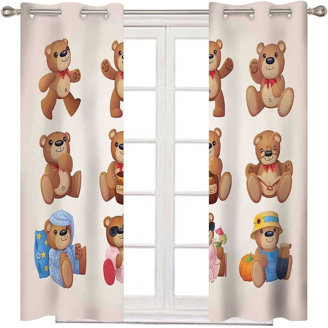 Max 57% OFF Bedroom Blackout Curtains 96 Translated Inch Long Bear Design K Teddy Kids
