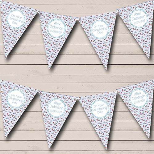 Blue Teddy Bear Personalised Christening Baptism Bunting Party Banner Decoration Garland