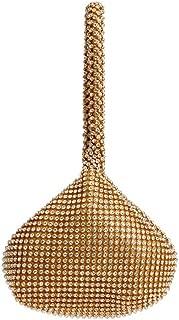 Sturdy Dinner Handbag Magnetic Buckle Type Diamond Ladies Europe and America Banquet Rhinestone Handbag Portable Clutch Handbag 15 * 26 * 5cm. Large Capacity (Color : Gold)
