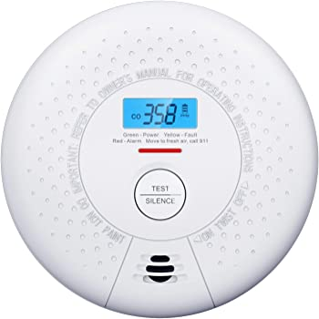 X-Sense Carbon Monoxide Detector Alarm 10-Year Battery (Not Hardwired) CO Alarm Detector with LCD Display, Compliant with UL 2034 Standard, Auto-Check & Silence Button, CD01