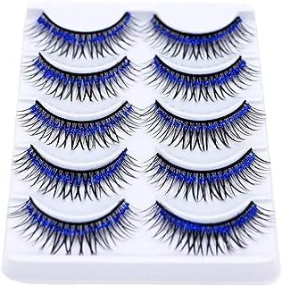 5 Pairs Colorful False Eyelashes Long Thick Glitter Artificial Eyelashes Makeup Eyelashes Extension Blue