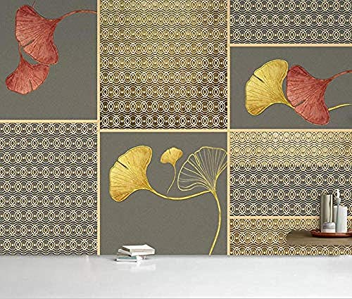 XHXI Abstract Golden Sidewall Wallpaper Ginkgo Biloba Leaves for Home Bedroom Living Room Wallpaper Wall Covering Decora 3D Wallpaper Paste Living Room The Wall for Bedroom Mural border-200cm×140cm