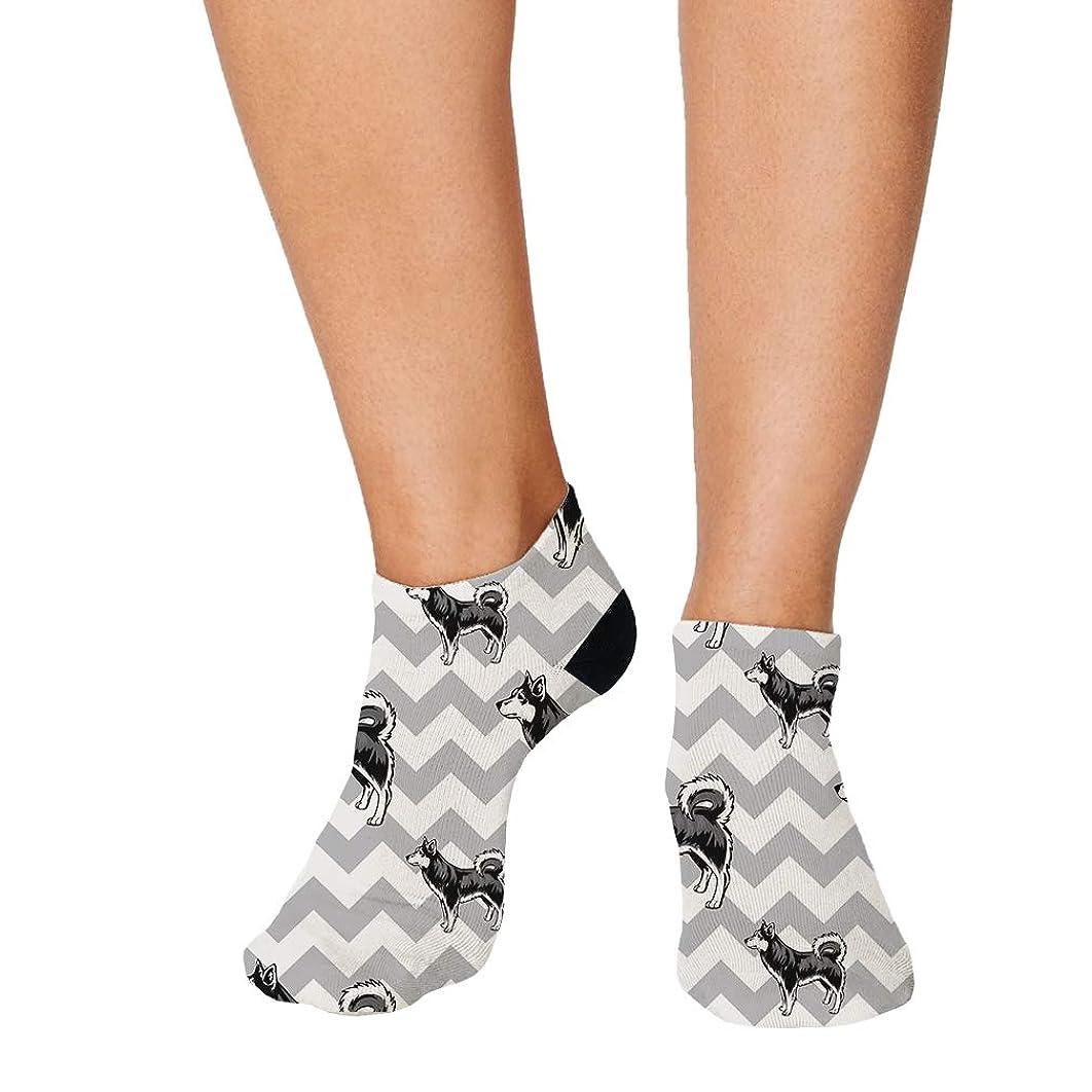 Alaskan Klee Kai Dog Gray Zigzag Pattern Men-Women Adult Ankle Socks
