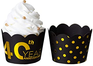 "KEY SPRING""40th Year Anniversary"" and Gold Polka Dot Reversible Cupcake Wrappers (Black, Gold, 36PCS/Pack), Size Adjustable Cupcake Sleeve for Wedding Anniversary, 40th Year Birthday Party"