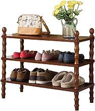 Household Solid Wood Shoe Rack 3 Tier Storage Cabinet Versatile Hallway Entrance Organiser Shelves Dust-Proof European Sty...