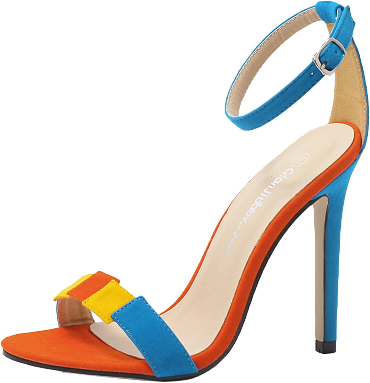 D2C Beauty Women's Classic Stiletto High Heel Open Toe Ankle Strap Sandals