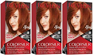 Revlon Colorsilk Beautiful Color, Permanent Hair Dye with Keratin, 100% Gray Coverage, Ammonia Free, 42 Medium Auburn (Pack of 3)
