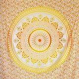 MOMOMUS Tapiz Mandala Sol - 100% Algodón, Grande, Multiuso - Telas para Decoración de Pared - Amarillo