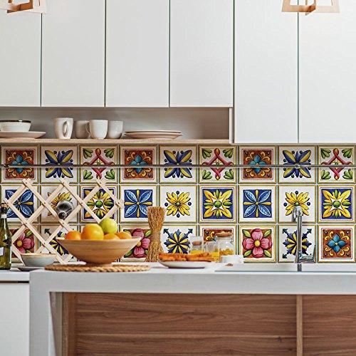 wall art (Confezione 24 Pezzi) Adesivi per Piastrelle Formato 20x20 cm -  Made in Italy - PS00068 Adesivi in PVC per Piastrelle per Bagno e Cucina ...